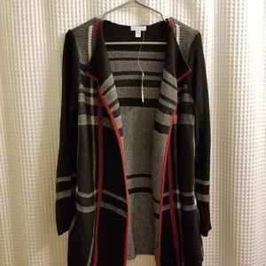 Plaid sweater jacket/ cardigan